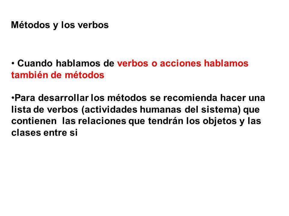 Métodos y los verbos Cuando hablamos de verbos o acciones hablamos también de métodos.