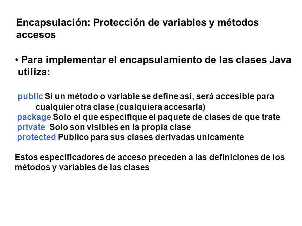 Encapsulación: Protección de variables y métodos accesos