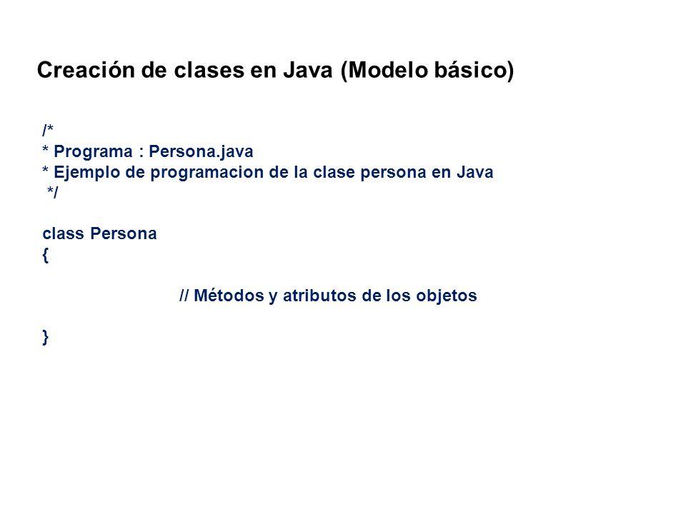 Creación de clases en Java (Modelo básico)