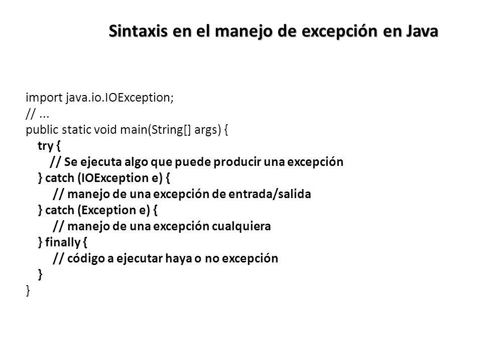 Sintaxis en el manejo de excepción en Java