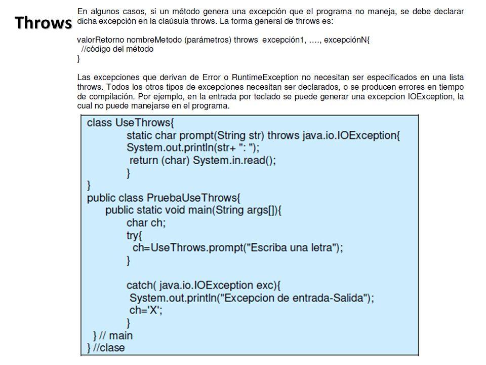 Throws Ventaja 1: Separa el Manejo de Errores del Código Normal .
