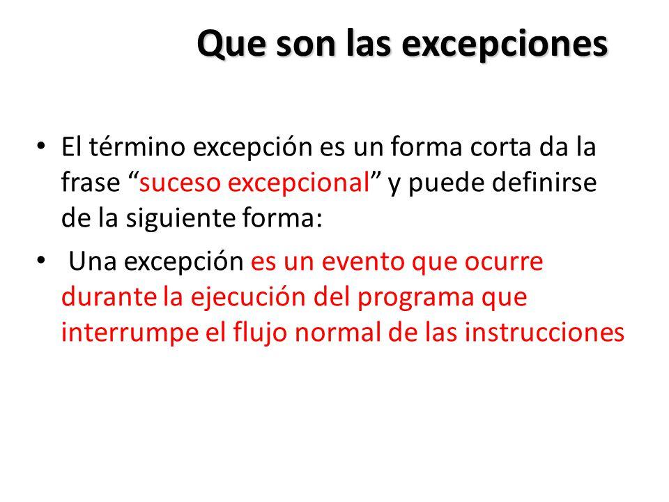 Que son las excepciones