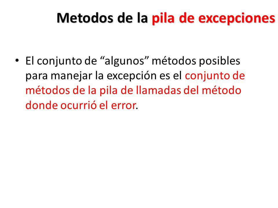Metodos de la pila de excepciones
