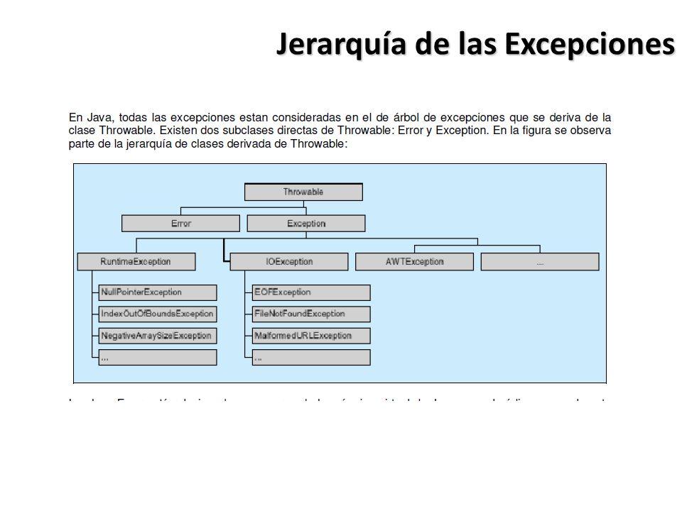 Jerarquía de las Excepciones