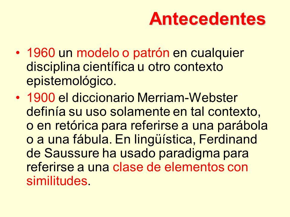 Antecedentes 1960 un modelo o patrón en cualquier disciplina científica u otro contexto epistemológico.