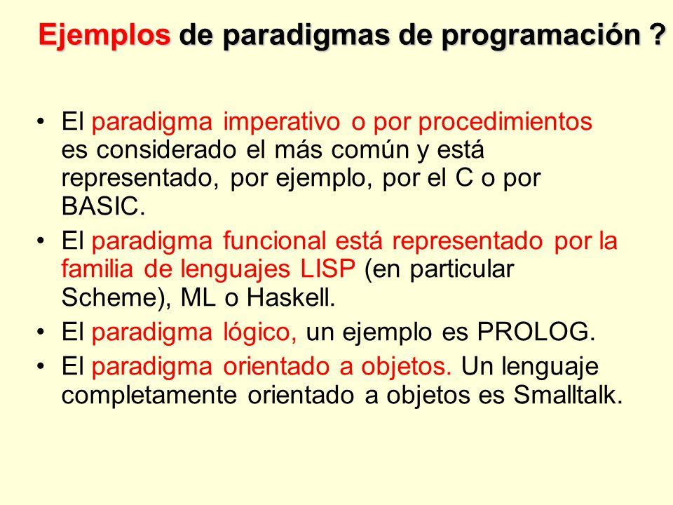 Ejemplos de paradigmas de programación