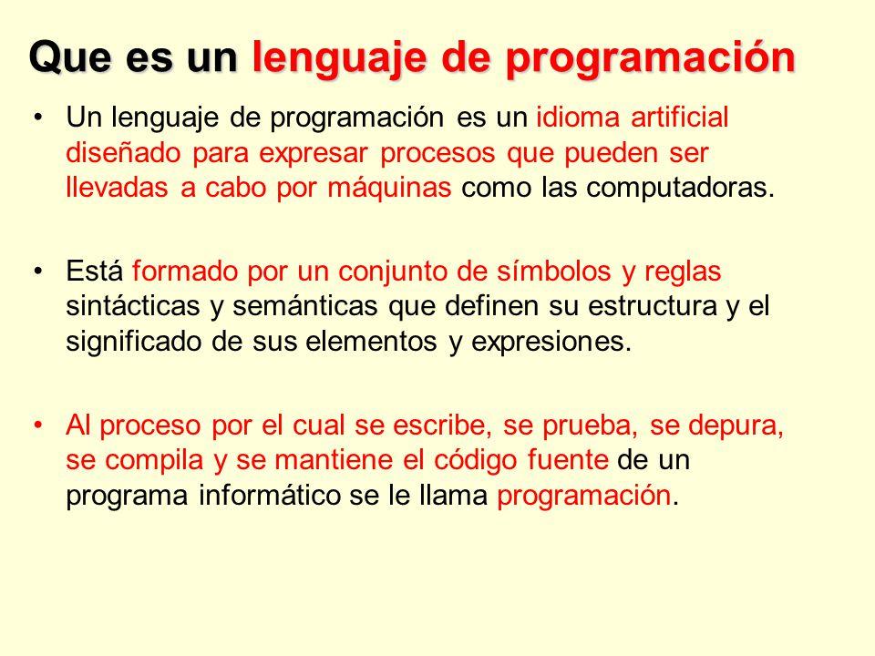 Que es un lenguaje de programación