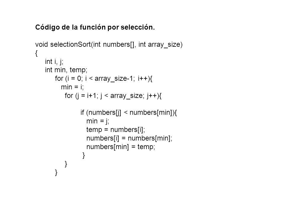 Código de la función por selección.