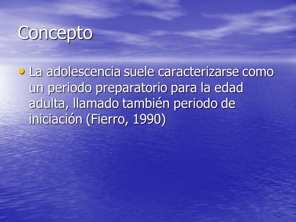 Concepto La adolescencia suele caracterizarse como un periodo preparatorio para la edad adulta, llamado también periodo de iniciación (Fierro, 1990)