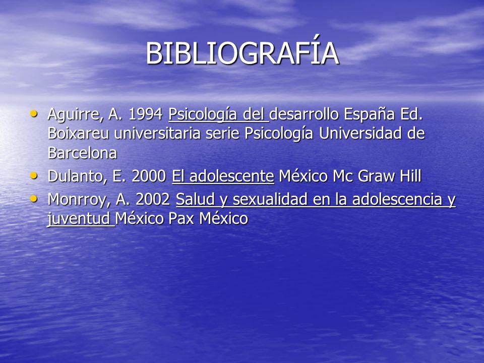 BIBLIOGRAFÍA Aguirre, A. 1994 Psicología del desarrollo España Ed. Boixareu universitaria serie Psicología Universidad de Barcelona.