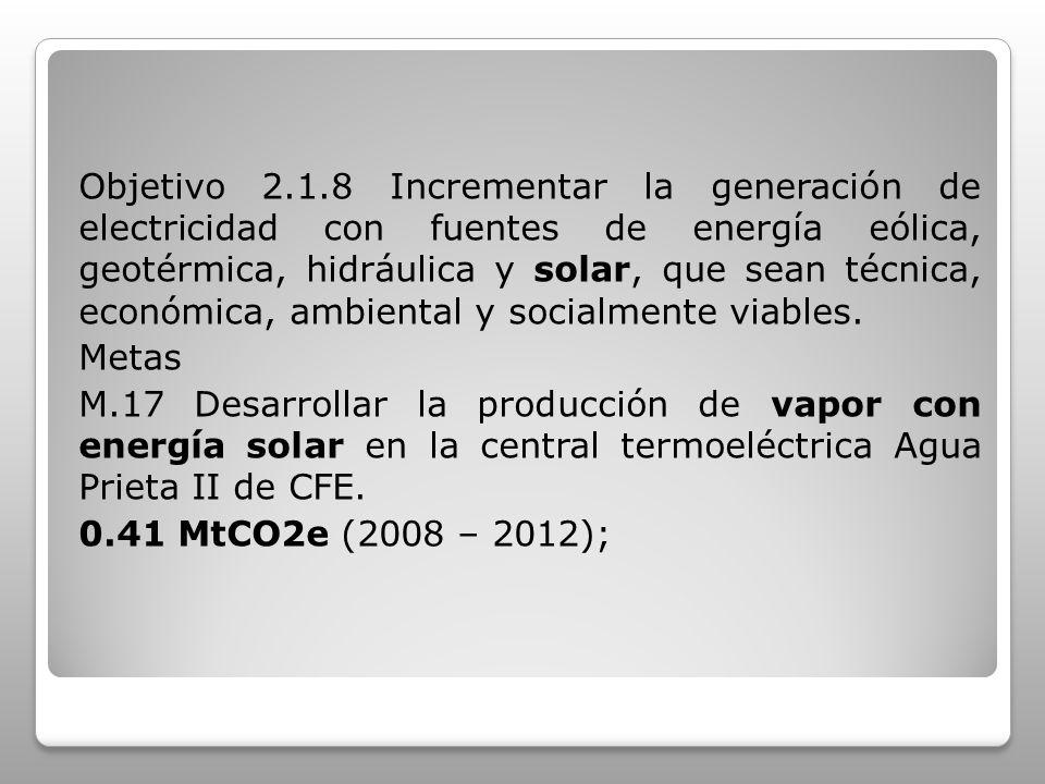 Objetivo 2.1.8 Incrementar la generación de electricidad con fuentes de energía eólica, geotérmica, hidráulica y solar, que sean técnica, económica, ambiental y socialmente viables.