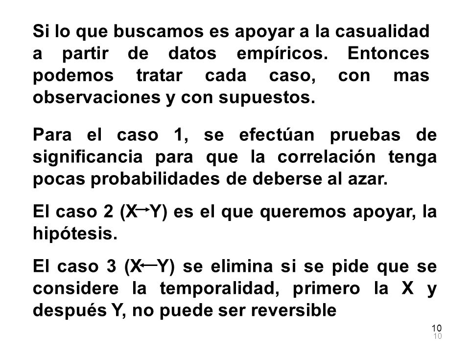 El caso 2 (X Y) es el que queremos apoyar, la hipótesis.