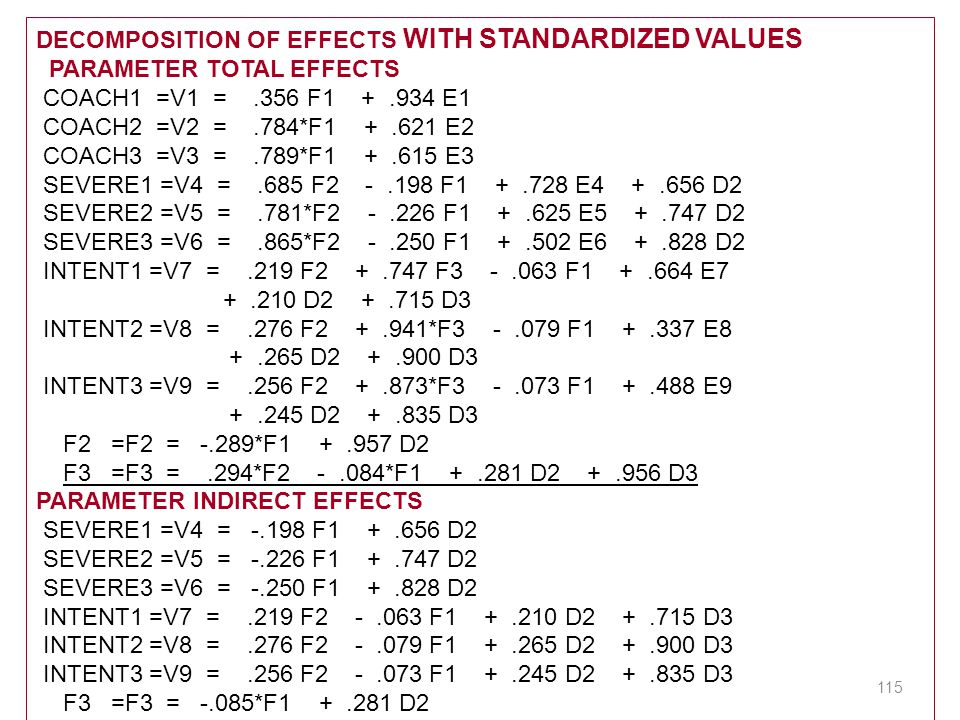 DECOMPOSITION OF EFFECTS WITH STANDARDIZED VALUES