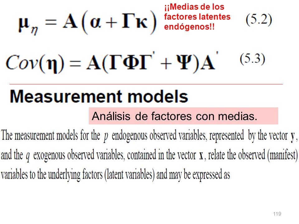 Análisis de factores con medias.