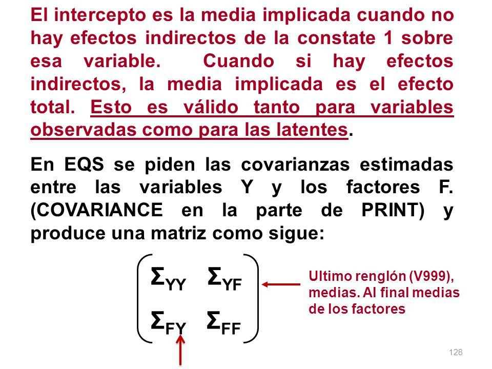 El intercepto es la media implicada cuando no hay efectos indirectos de la constate 1 sobre esa variable. Cuando si hay efectos indirectos, la media implicada es el efecto total. Esto es válido tanto para variables observadas como para las latentes.