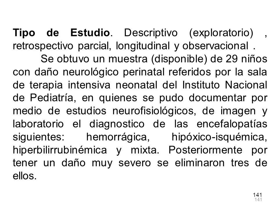 Tipo de Estudio. Descriptivo (exploratorio) , retrospectivo parcial, longitudinal y observacional .