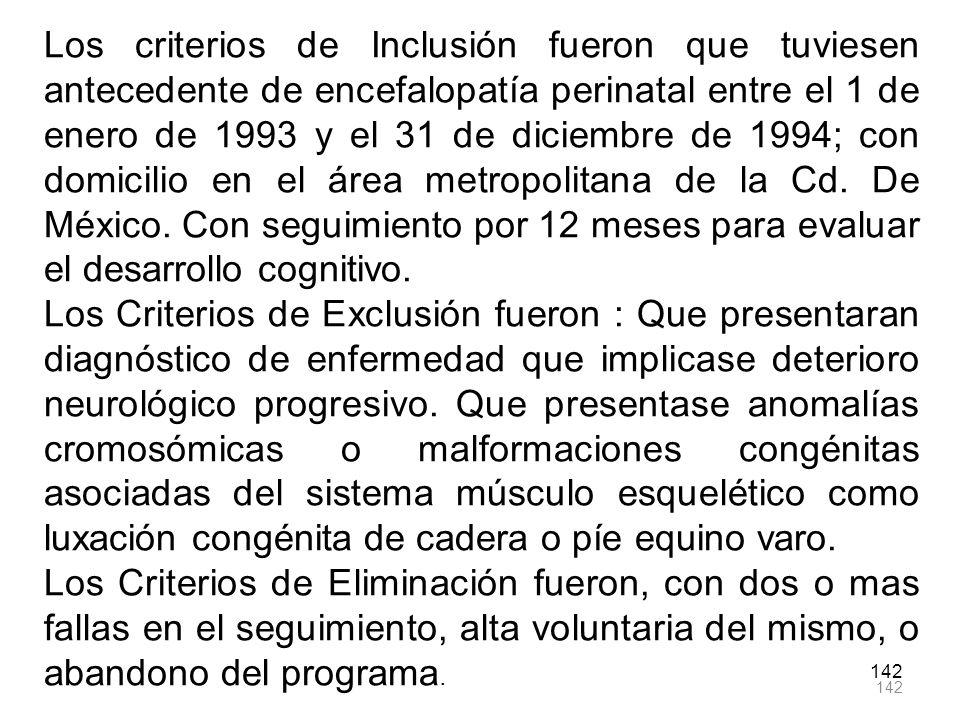 Los criterios de Inclusión fueron que tuviesen antecedente de encefalopatía perinatal entre el 1 de enero de 1993 y el 31 de diciembre de 1994; con domicilio en el área metropolitana de la Cd. De México. Con seguimiento por 12 meses para evaluar el desarrollo cognitivo.