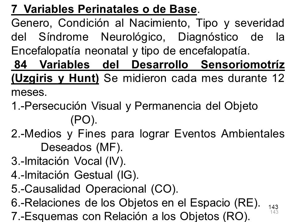 7 Variables Perinatales o de Base.