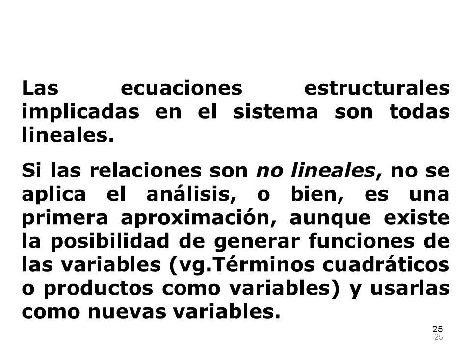 Las ecuaciones estructurales implicadas en el sistema son todas lineales.