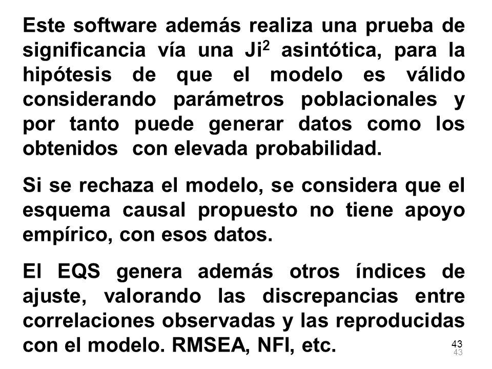Este software además realiza una prueba de significancia vía una Ji2 asintótica, para la hipótesis de que el modelo es válido considerando parámetros poblacionales y por tanto puede generar datos como los obtenidos con elevada probabilidad.