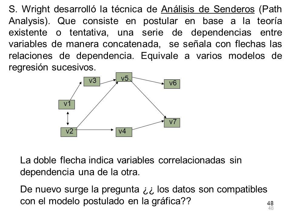 S. Wright desarrolló la técnica de Análisis de Senderos (Path Analysis). Que consiste en postular en base a la teoría existente o tentativa, una serie de dependencias entre variables de manera concatenada, se señala con flechas las relaciones de dependencia. Equivale a varios modelos de regresión sucesivos.