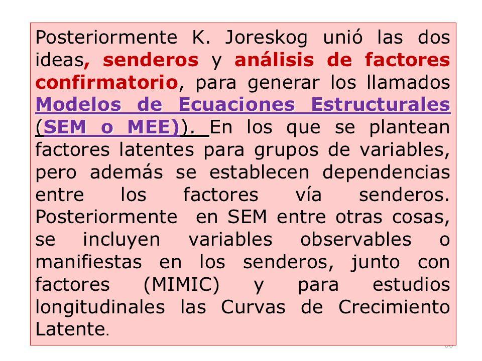 Posteriormente K. Joreskog unió las dos ideas, senderos y análisis de factores confirmatorio, para generar los llamados Modelos de Ecuaciones Estructurales (SEM o MEE)). En los que se plantean factores latentes para grupos de variables, pero además se establecen dependencias entre los factores vía senderos. Posteriormente en SEM entre otras cosas, se incluyen variables observables o manifiestas en los senderos, junto con factores (MIMIC) y para estudios longitudinales las Curvas de Crecimiento Latente.
