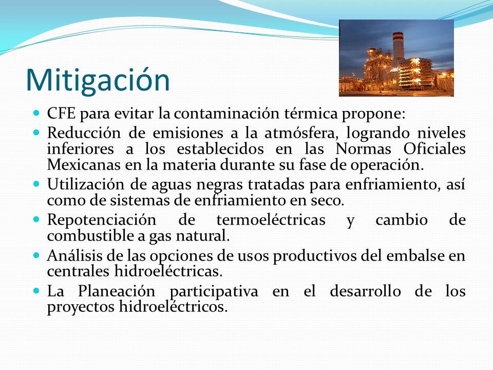 Mitigación CFE para evitar la contaminación térmica propone: