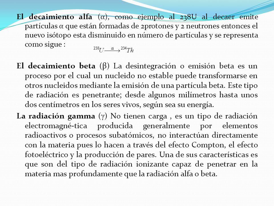 El decaimiento alfa (α), como ejemplo al 238U al decaer emite partículas α que están formadas de 2protones y 2 neutrones entonces el nuevo isótopo esta disminuido en número de partículas y se representa como sigue :