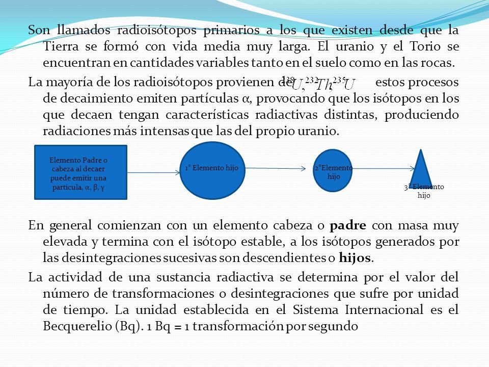 Elemento Padre o cabeza al decaer puede emitir una partícula, α, β, γ
