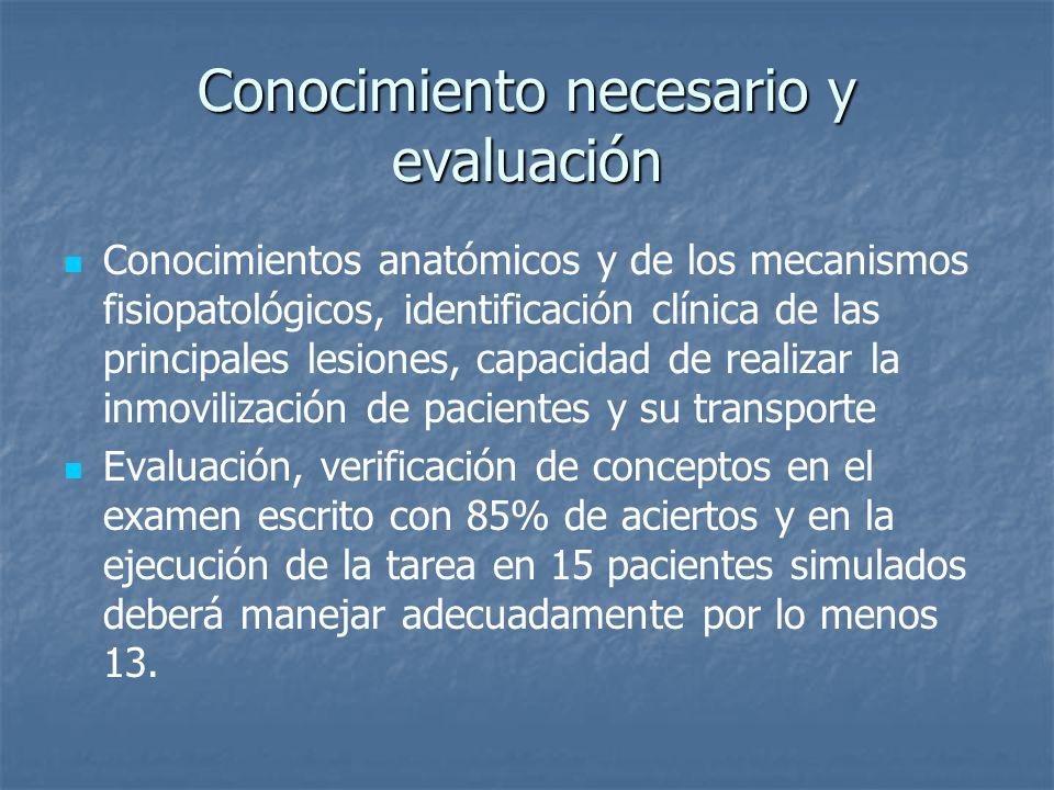Conocimiento necesario y evaluación