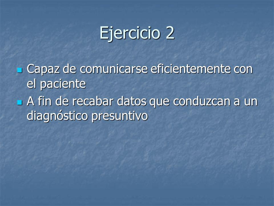 Ejercicio 2 Capaz de comunicarse eficientemente con el paciente