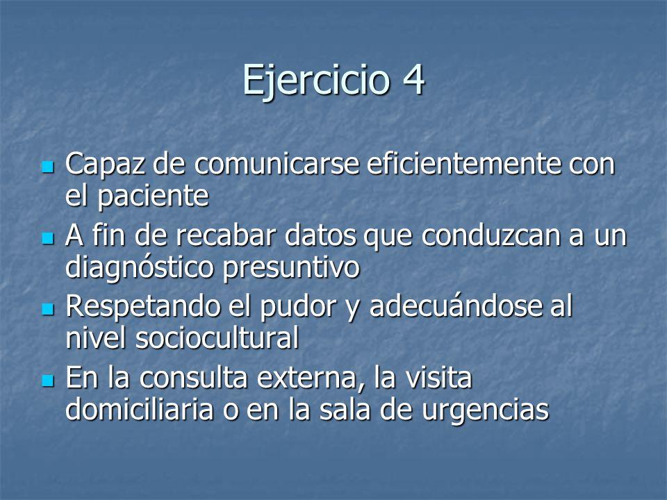 Ejercicio 4 Capaz de comunicarse eficientemente con el paciente
