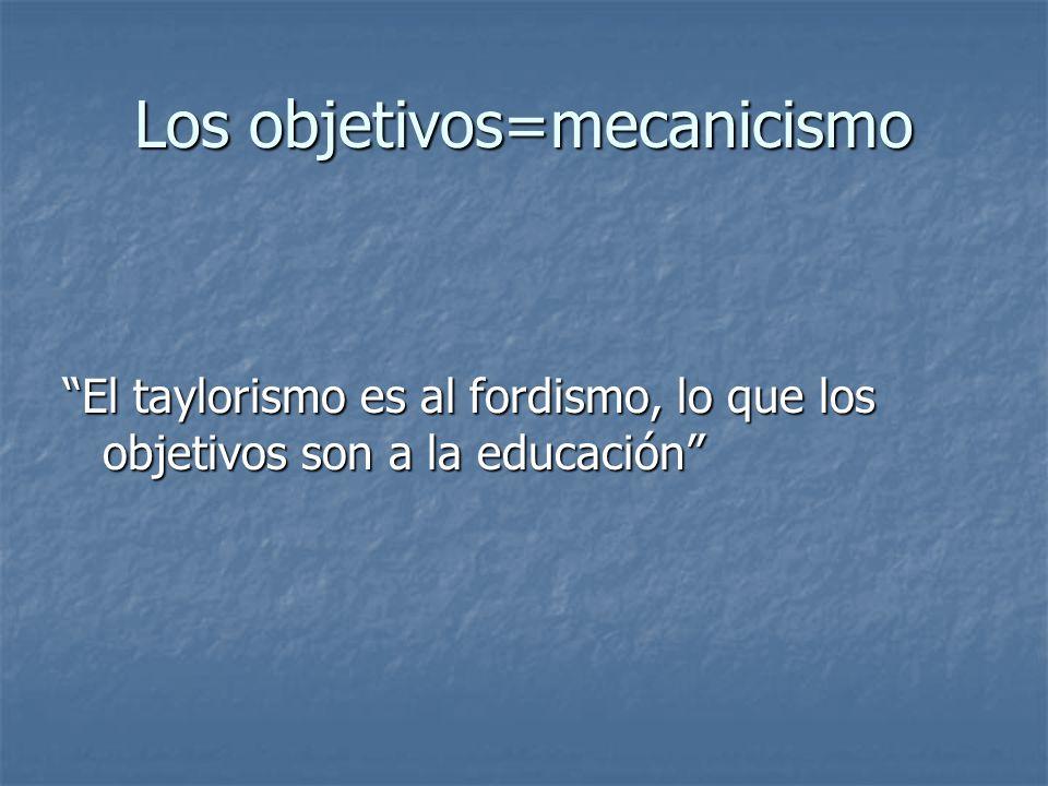 Los objetivos=mecanicismo