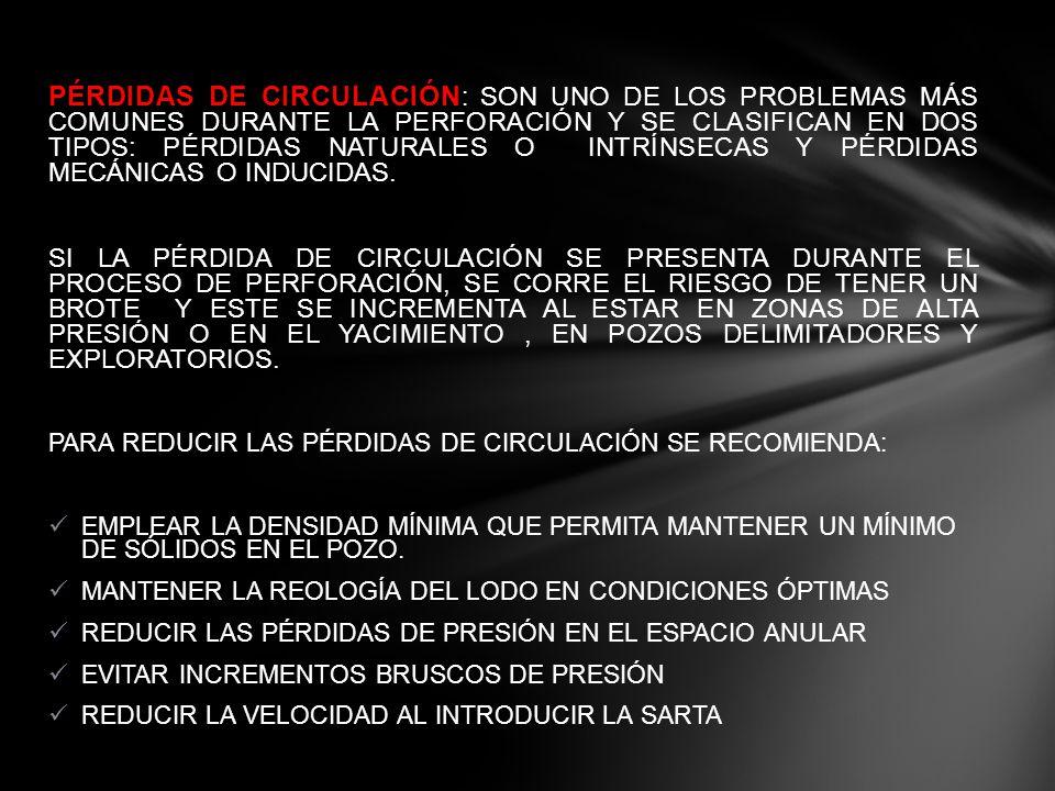 PÉRDIDAS DE CIRCULACIÓN: SON UNO DE LOS PROBLEMAS MÁS COMUNES DURANTE LA PERFORACIÓN Y SE CLASIFICAN EN DOS TIPOS: PÉRDIDAS NATURALES O INTRÍNSECAS Y PÉRDIDAS MECÁNICAS O INDUCIDAS.