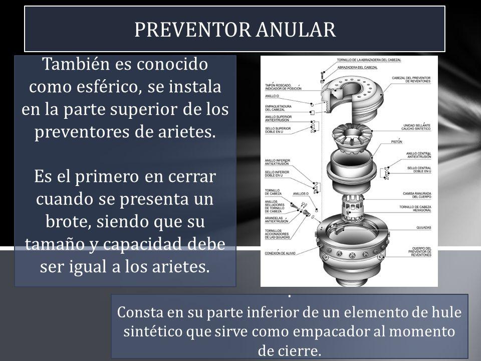 PREVENTOR ANULAR También es conocido como esférico, se instala en la parte superior de los preventores de arietes.