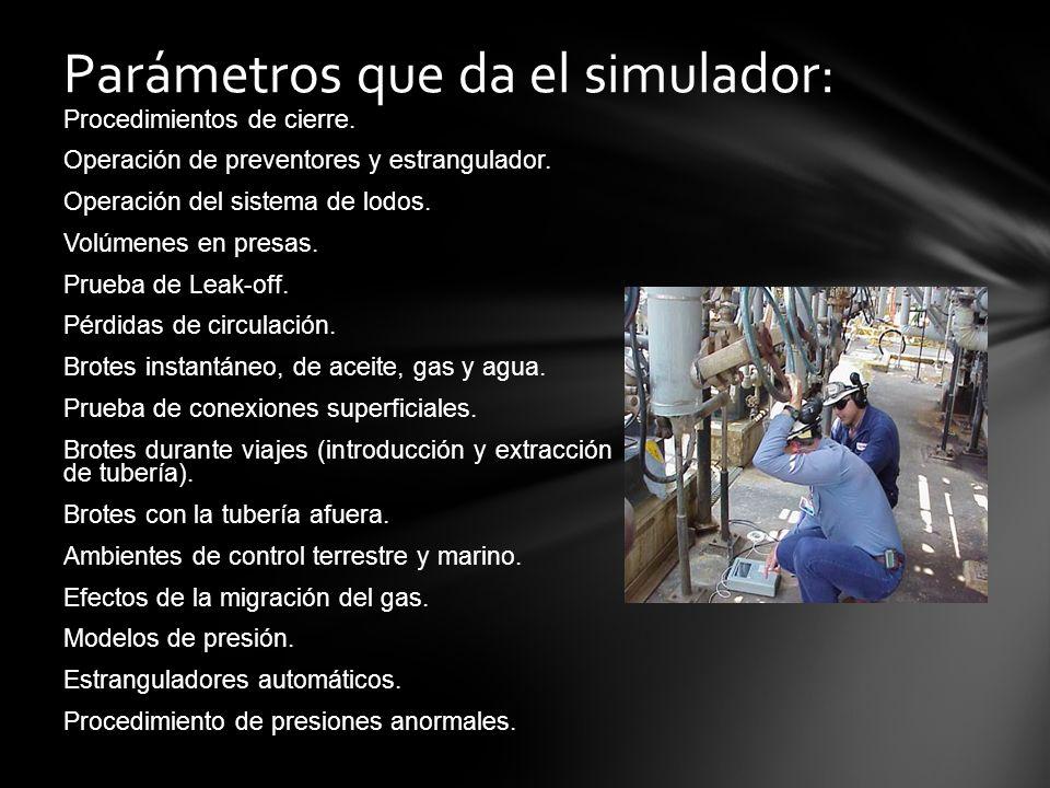 Parámetros que da el simulador: