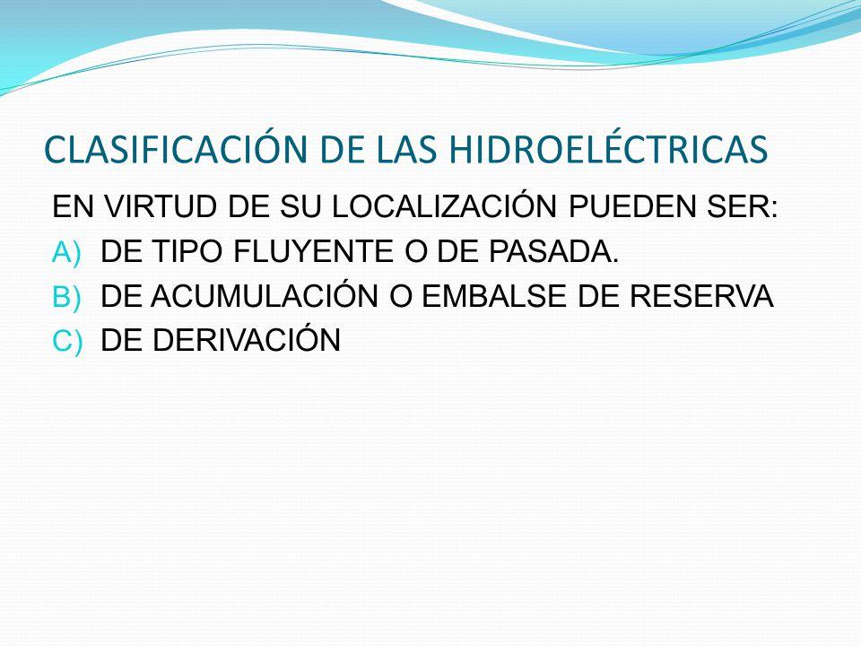 CLASIFICACIÓN DE LAS HIDROELÉCTRICAS