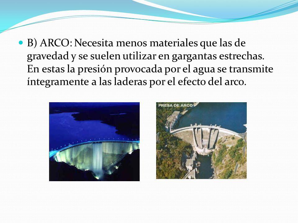 B) ARCO: Necesita menos materiales que las de gravedad y se suelen utilizar en gargantas estrechas.