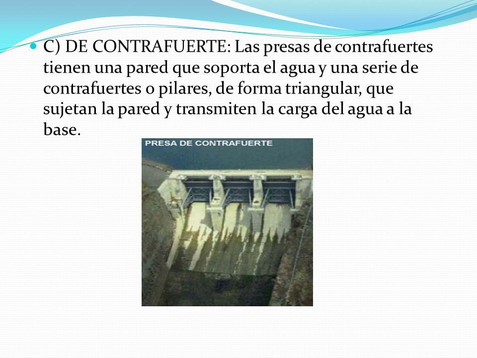 C) DE CONTRAFUERTE: Las presas de contrafuertes tienen una pared que soporta el agua y una serie de contrafuertes o pilares, de forma triangular, que sujetan la pared y transmiten la carga del agua a la base.