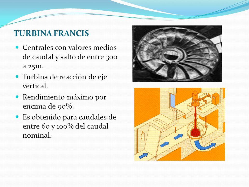 TURBINA FRANCIS Centrales con valores medios de caudal y salto de entre 300 a 25m. Turbina de reacción de eje vertical.
