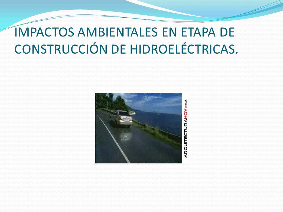 IMPACTOS AMBIENTALES EN ETAPA DE CONSTRUCCIÓN DE HIDROELÉCTRICAS.