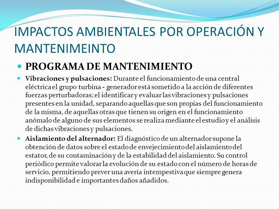 IMPACTOS AMBIENTALES POR OPERACIÓN Y MANTENIMEINTO