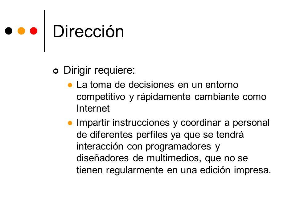 Dirección Dirigir requiere: