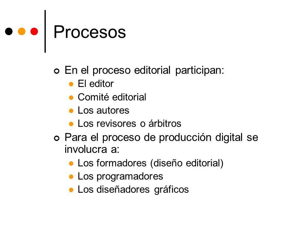 Procesos En el proceso editorial participan: