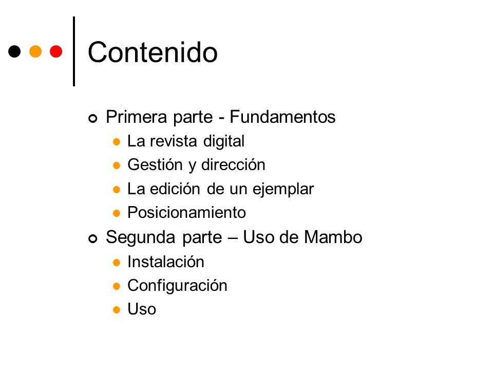 Contenido Primera parte - Fundamentos Segunda parte – Uso de Mambo