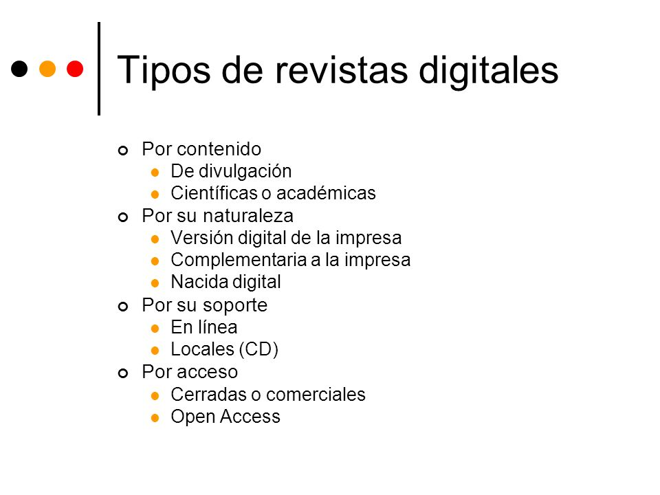 Tipos de revistas digitales