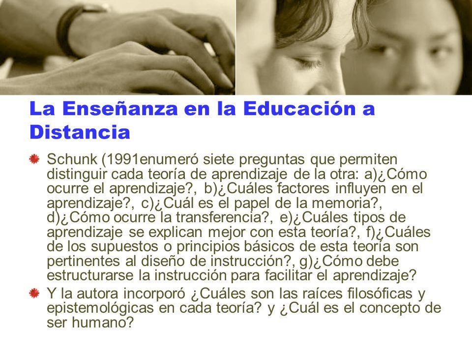 La Enseñanza en la Educación a Distancia