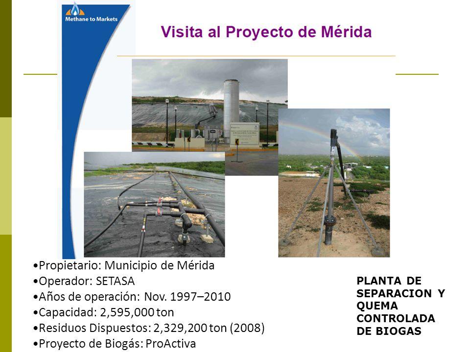 Propietario: Municipio de Mérida Operador: SETASA