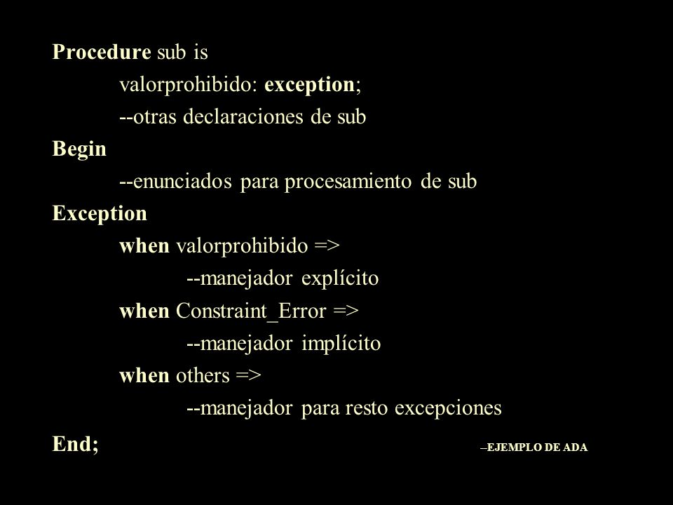Procedure sub is valorprohibido: exception; --otras declaraciones de sub. Begin. --enunciados para procesamiento de sub.