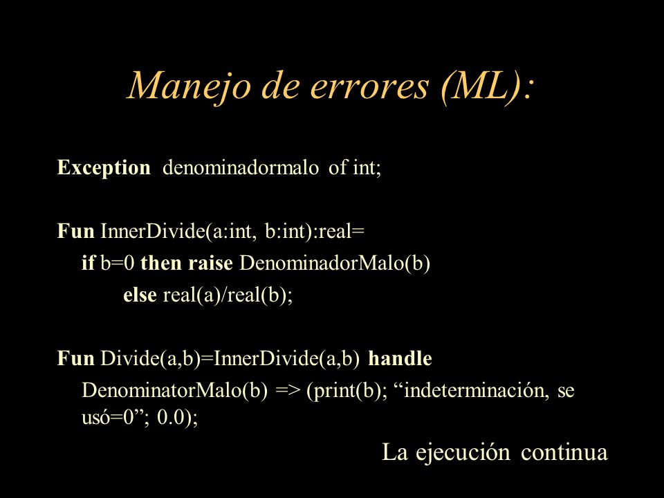 Manejo de errores (ML):